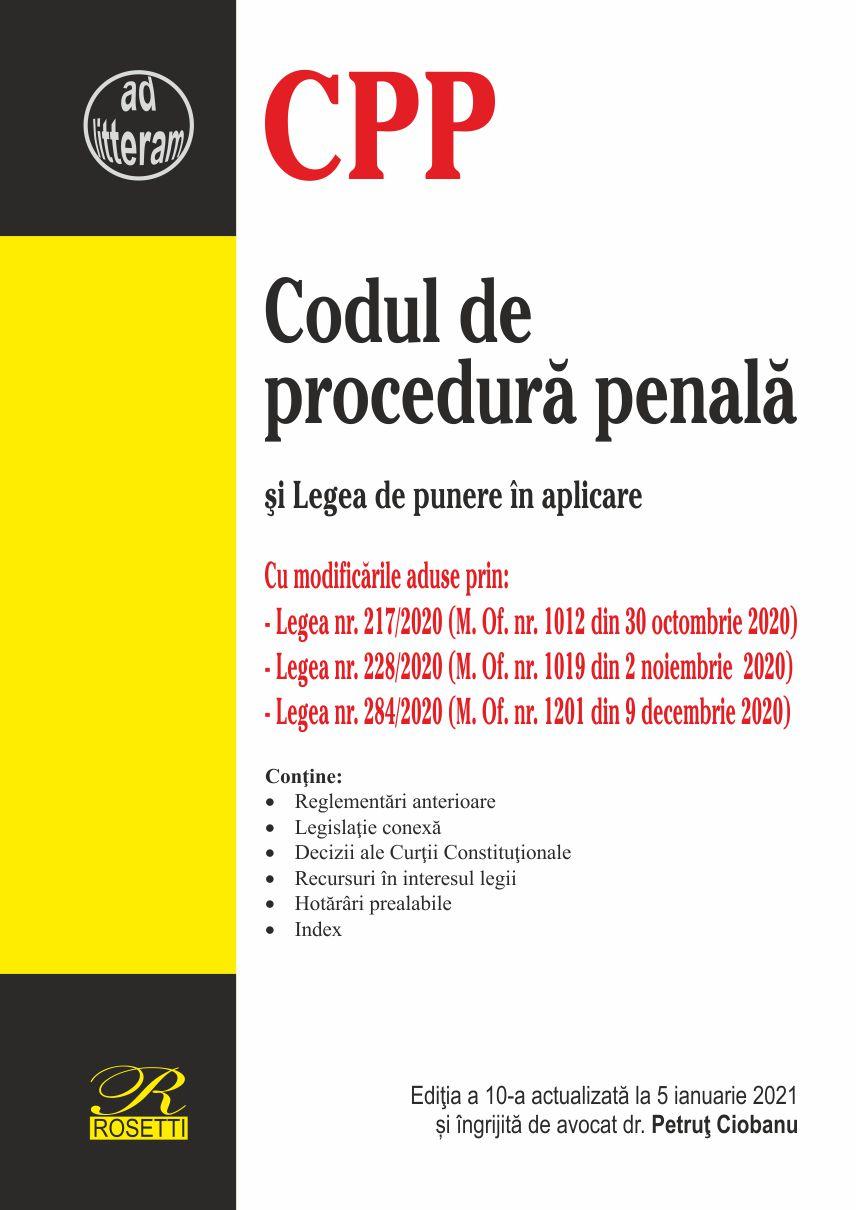 Imagine Codul De Procedura Penala Si Legea Punere In Aplicare - 5 Ianuarie