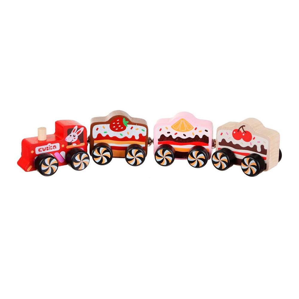 Jucarie din lemn - Trenulet cu Prajituri | Cubika