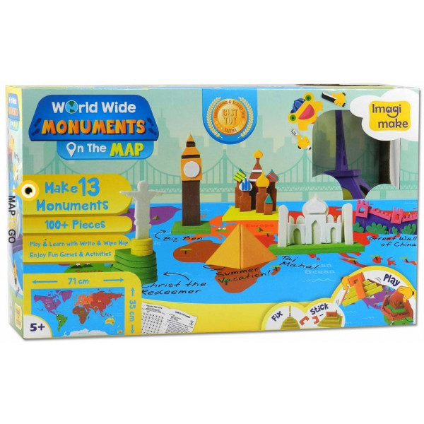 Puzzle din spuma - World Wide - Monuments on the Map | ImagiMake