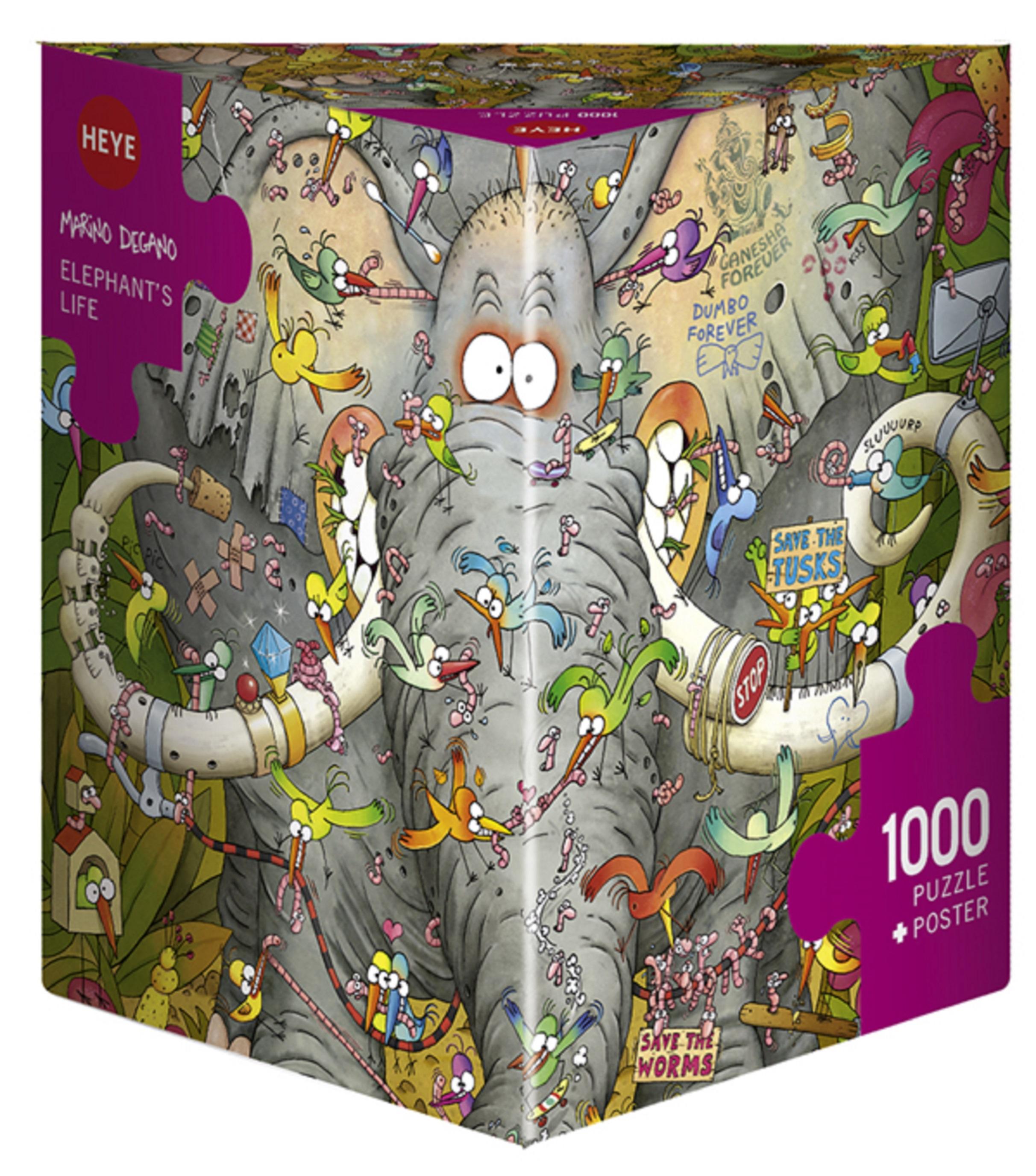 Puzzle 1000 piese - Viata elefantilor Degano | Heye