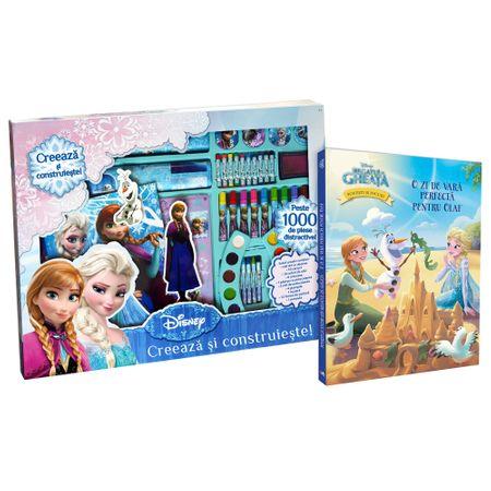 Set creativ Frozen 1001 piese + carte O zi de vara perfecta pentru Olaf