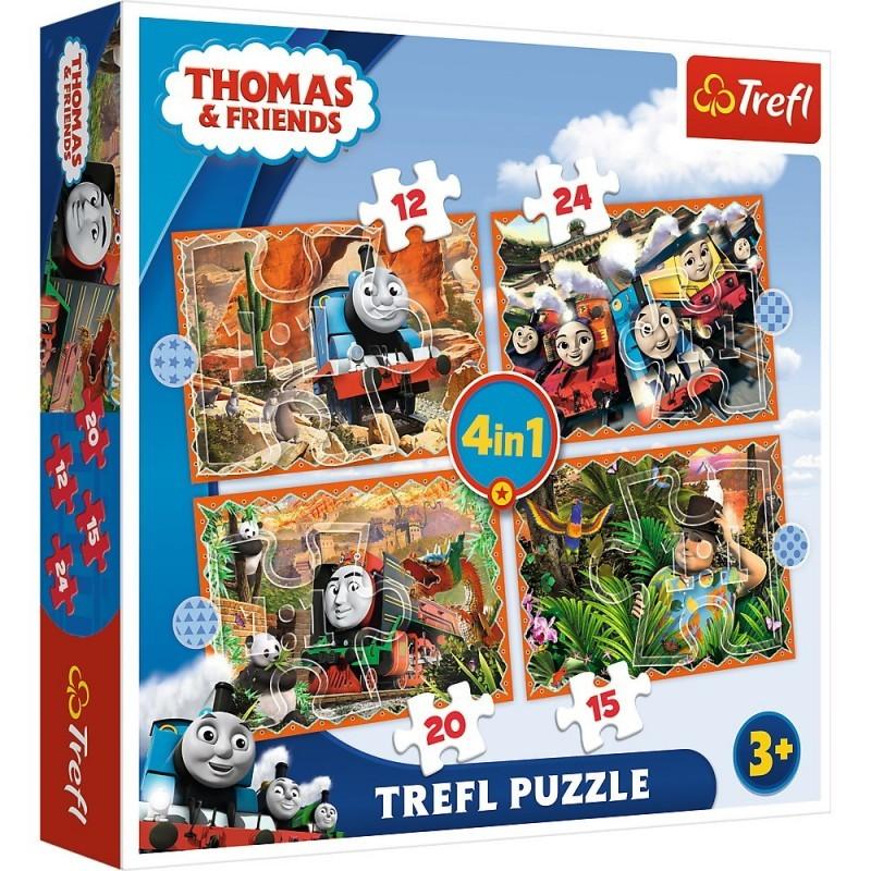 Puzzle 4in1 - Thomas, calatorie in jurul lumii   Trefl