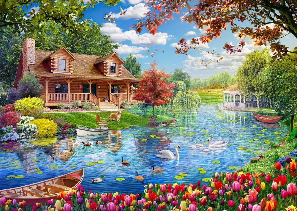 Puzzle 5000 piese - Casa de pe lac | Educa - 1