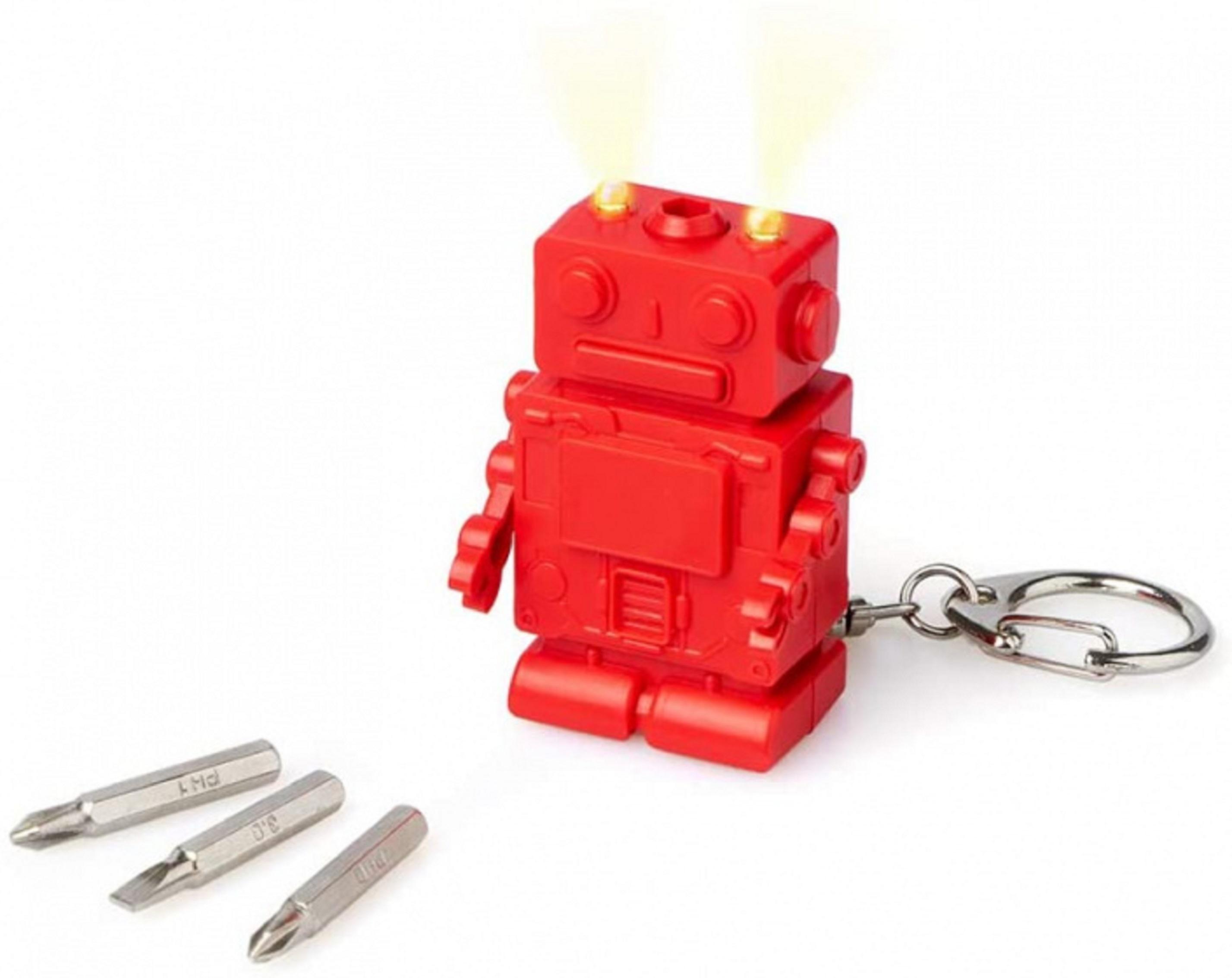 Breloc multifunctional - Robot, Rosu