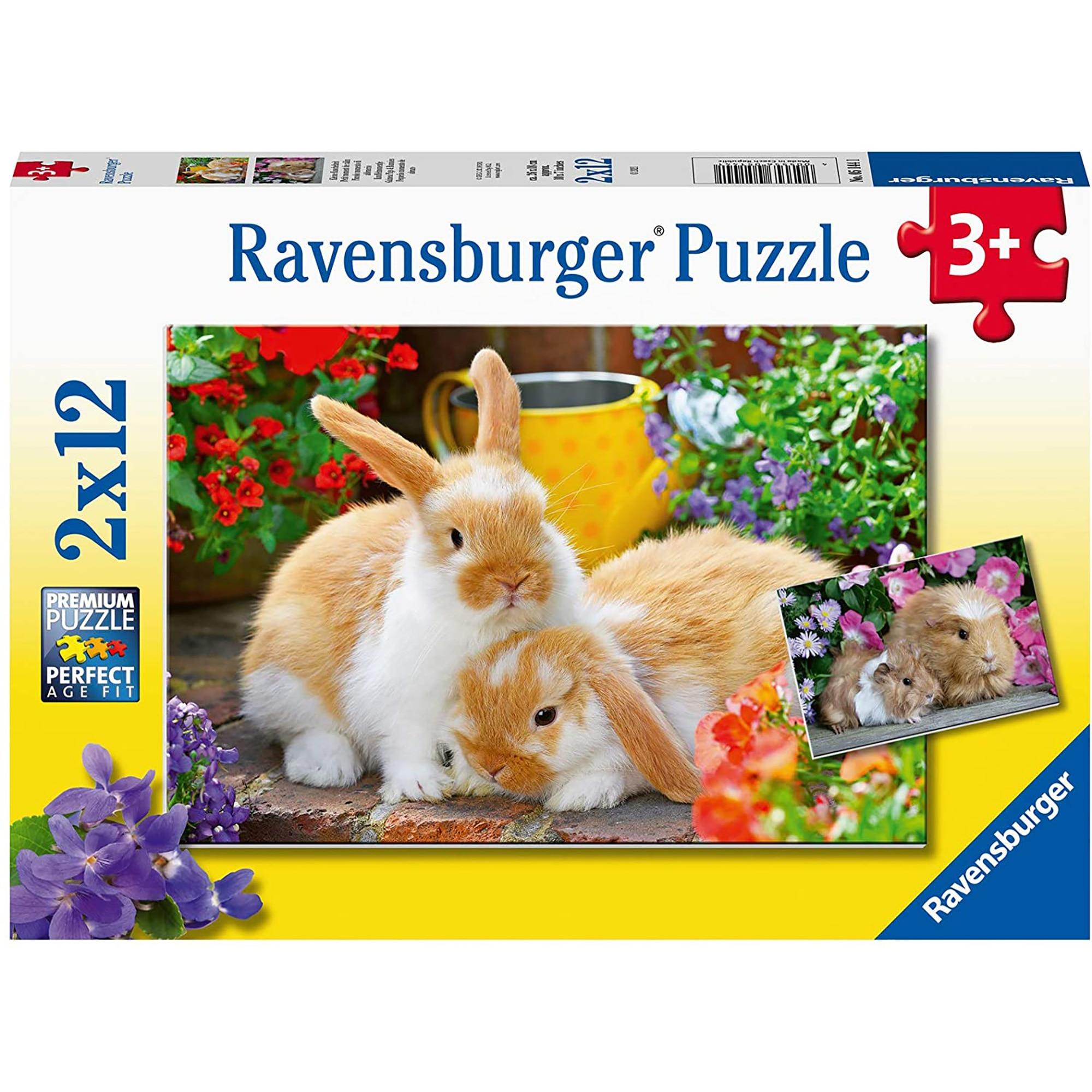 Puzzle 2in1 - Porcusor de Guineea si Iepuras   Ravensburger