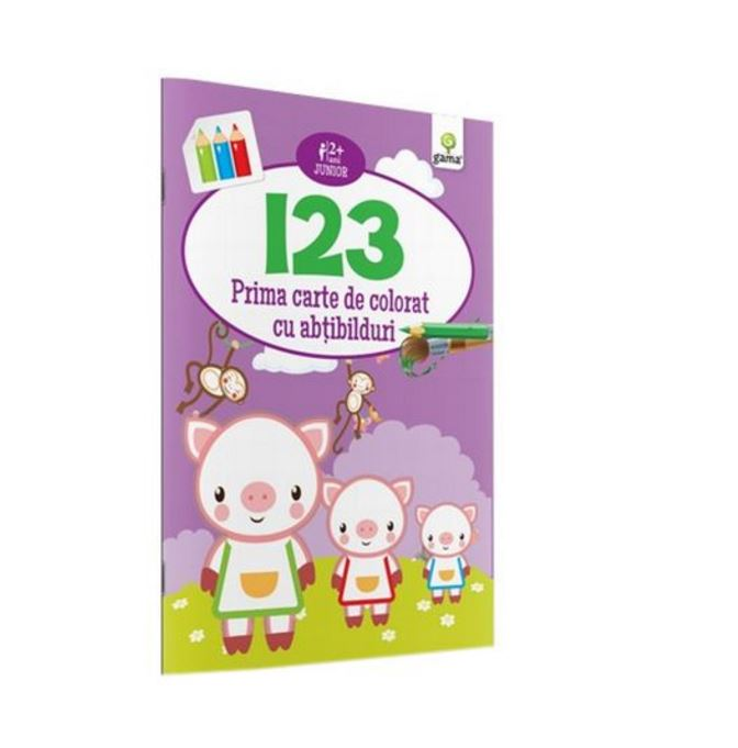 Imagine 1 2 3 - Prima Carte De Colorat Cu Abtibilduri -