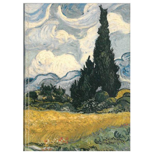 Carnet mediu - Lan de grau cu chiparosi de Vincent van Gogh thumbnail