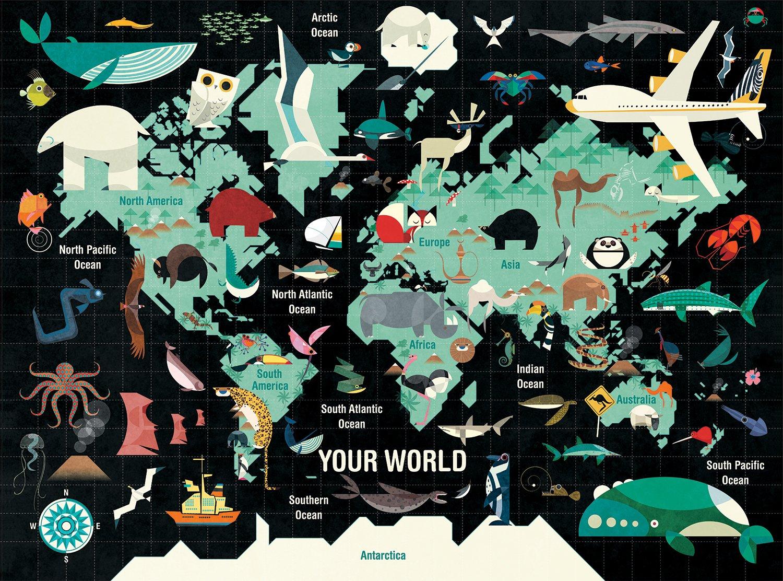 Puzzle 1000 piese - Harta lumii | Mudpuppy