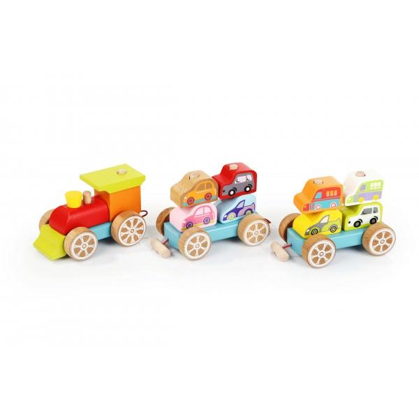 Jucarie din Lemn - Cubika - Trenulet Cu Masinute thumbnail