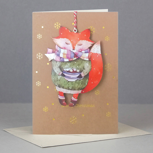 Felicitare - Wooden Keep Sake Xmas Fox thumbnail