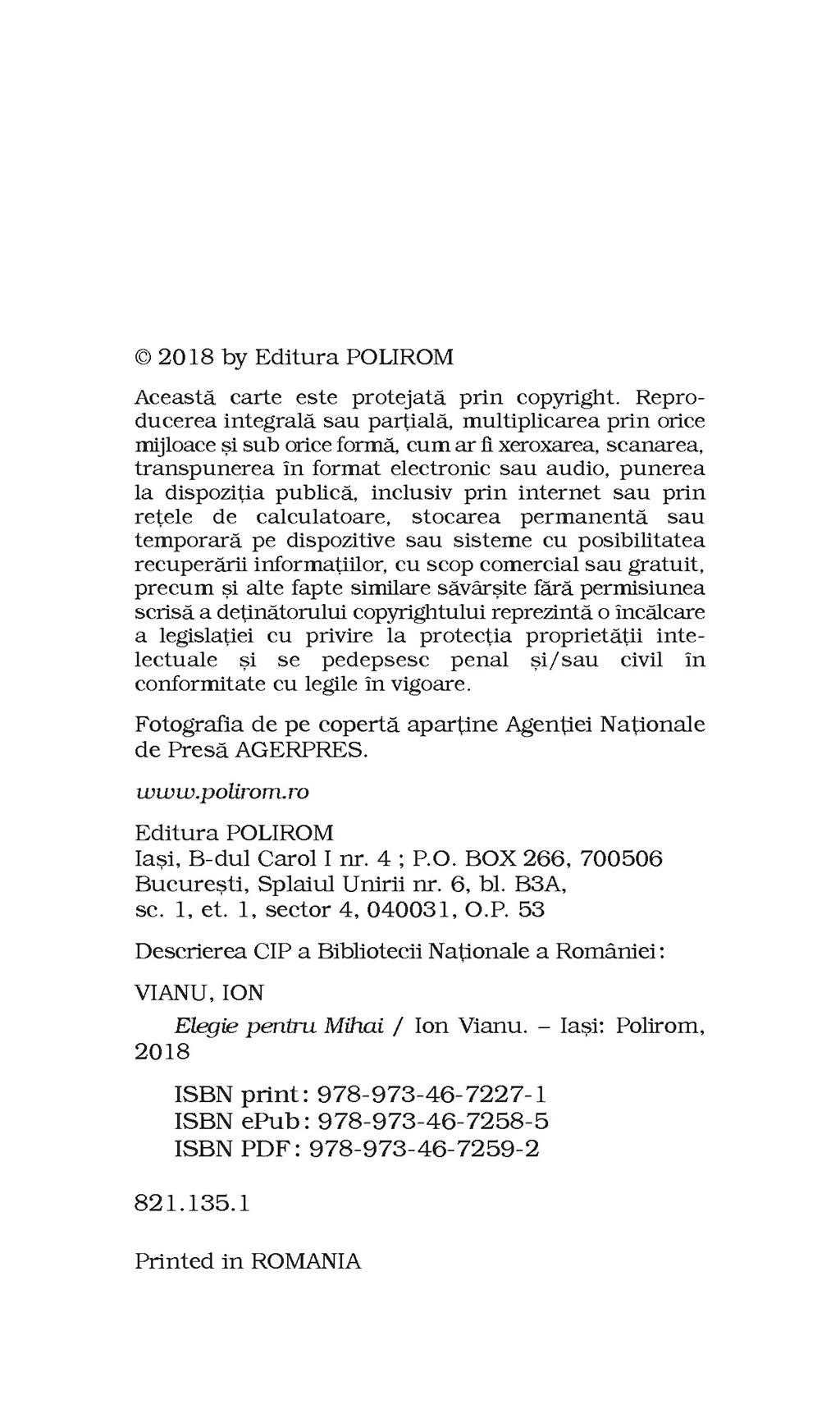 Elegie Pentru Mihai | Ion Vianu