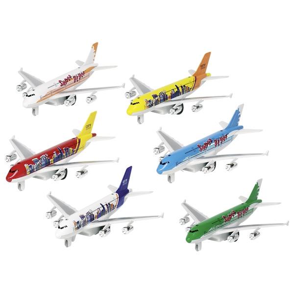 Jucarie - Airplane Airbus A380 cu lumini si sunete, 19cm (mai multe modele) | Goki