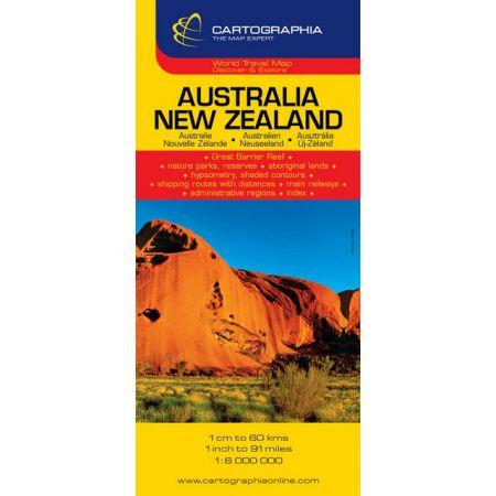 Harta rutiera Australia, Noua Zelanda 1:6.000.000