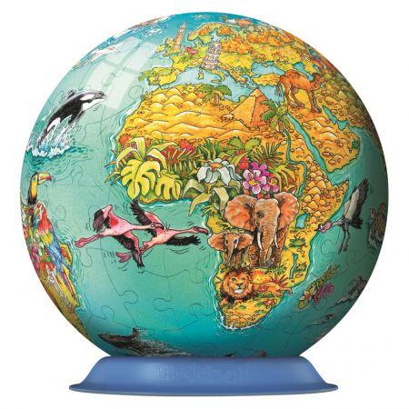 Puzzle 3D Globul lumii - Puzzleball, 108 piese | Ravensburger