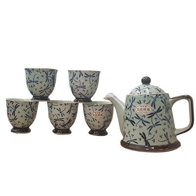 Set ceainic si 5 cesti - Blue Fantasy