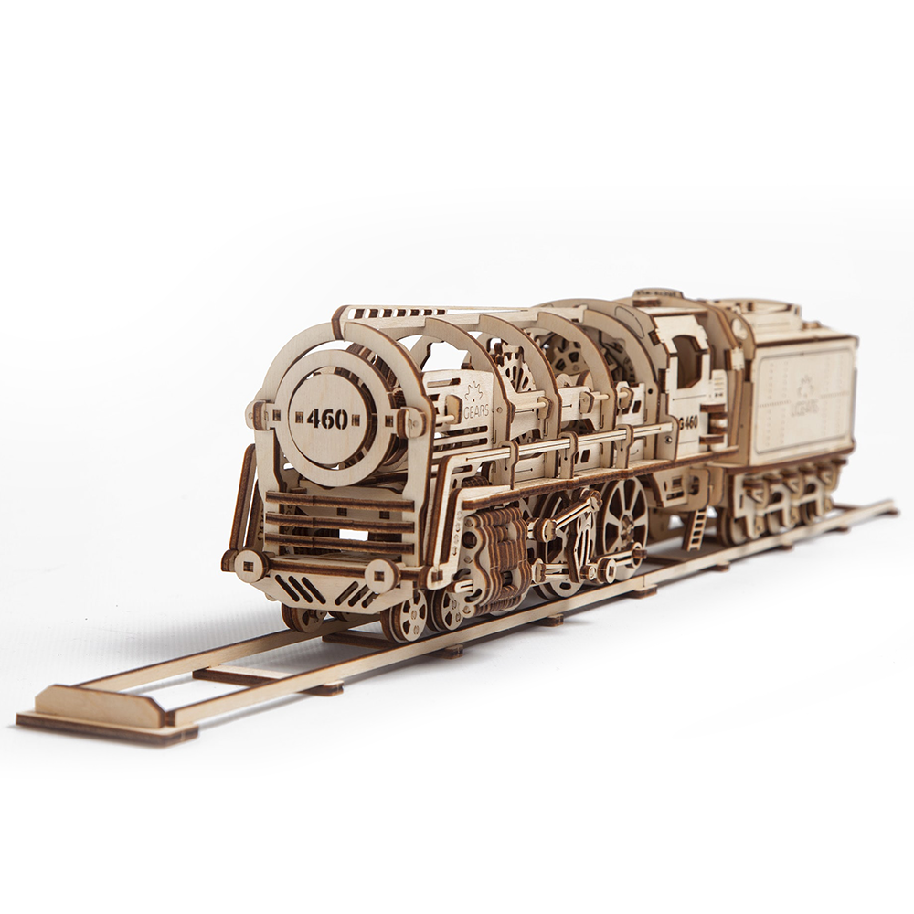 Puzzle 3D - Locomotiva cu vagon | Ugears