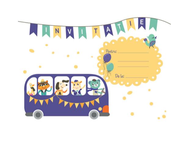 Set 20 de invitatii - Bus Party