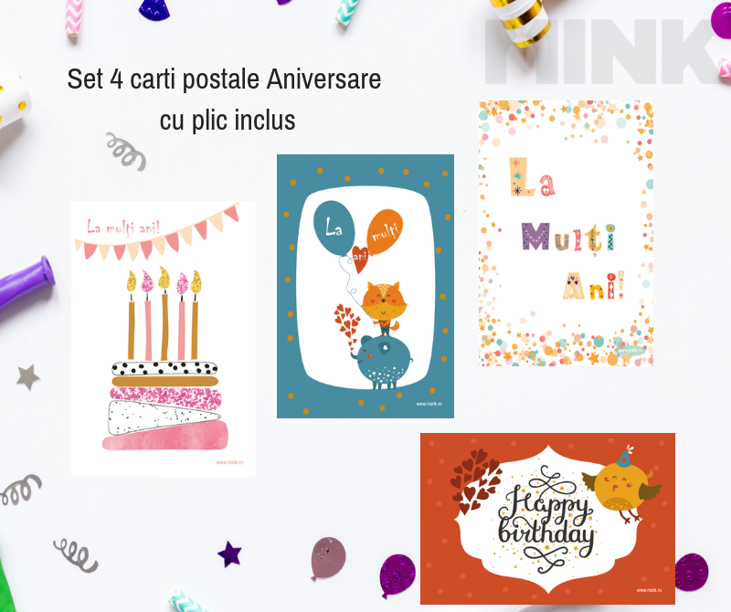 Set 4 carti postale aniversare