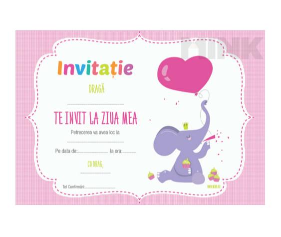 Set 20 de invitatii - Elefantul jucaus