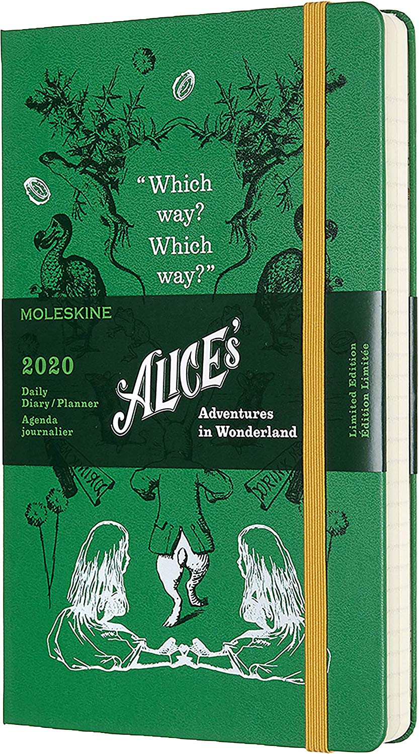 Agenda 2020 - Moleskine Limited Edition Alice's Adventures in Wonderland 12-Month Daily Notebook Planner - Green, Large, Hard cover thumbnail