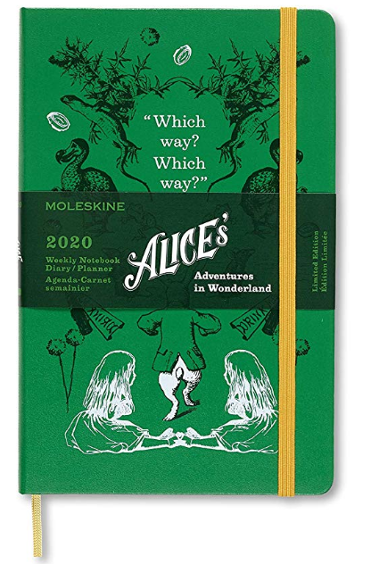 Agenda 2020 - Moleskine Limited Edition Alice's Adventures in Wonderland 12-Month Weekly Notebook Planner - Green, Large, Hard cover thumbnail