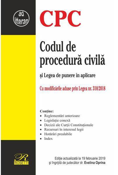 Imagine Codul De Procedura Civila - Legea Punere In Aplicare - Evelina Oprina