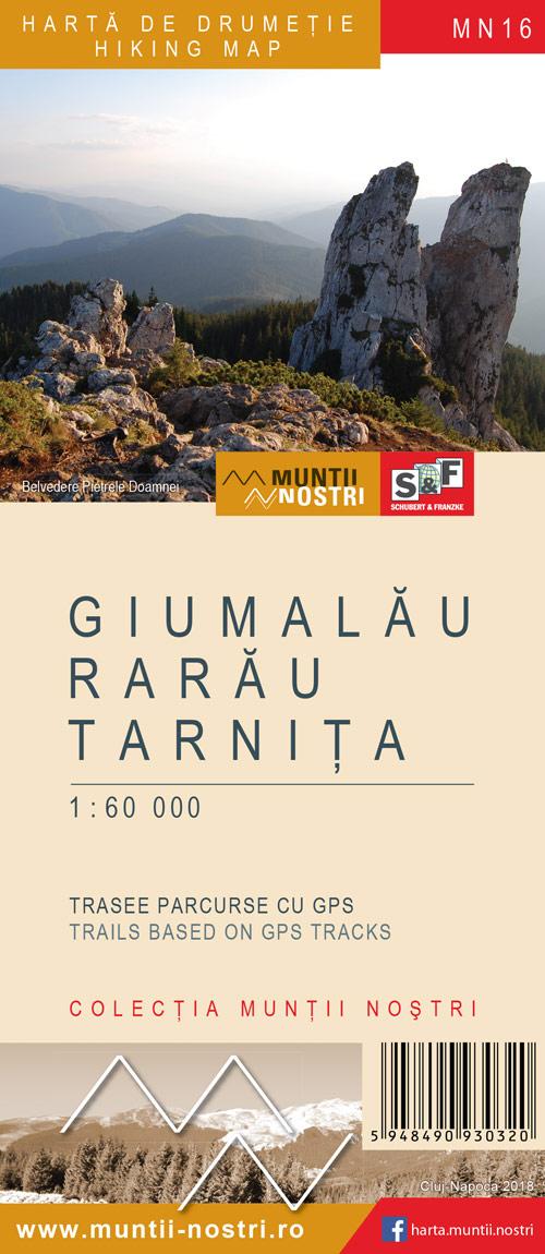 Harta de drumetie - Muntii Giumalau, Rarau, Tarnita
