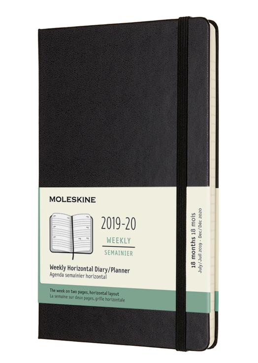 Agenda 2019-2020 - Moleskine 18-Month Weekly Horizontal Diary and Planner - Black, Large, Hard cover thumbnail