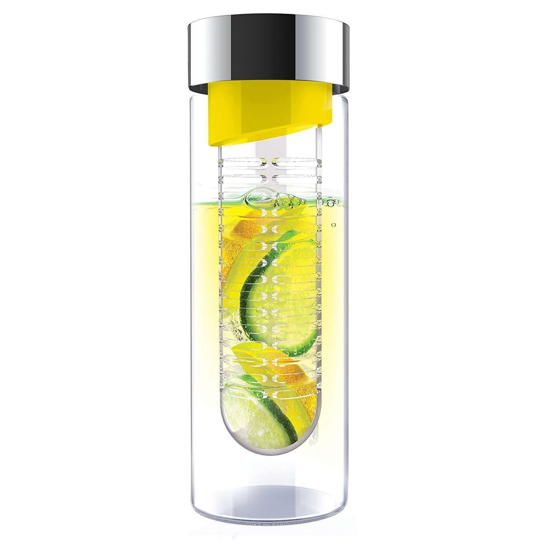Sticla de apa cu infuzor - Asobu, Argintiu - Galben thumbnail