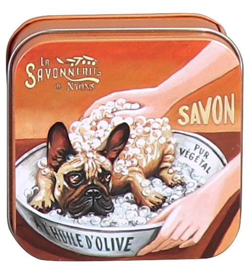 Sapun in cutie metalica - Chien Bullgog thumbnail