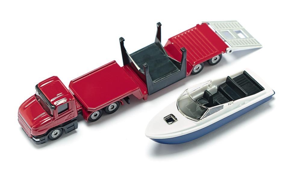 Jucarie - Low Loader and boat   Siku - 2