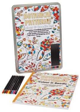 Set de lux de colorat pentru adulti modele botanice |