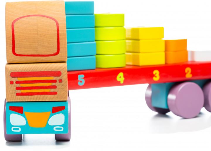 Jucarie din lemn - Camion cu forme geometrice   Cubika