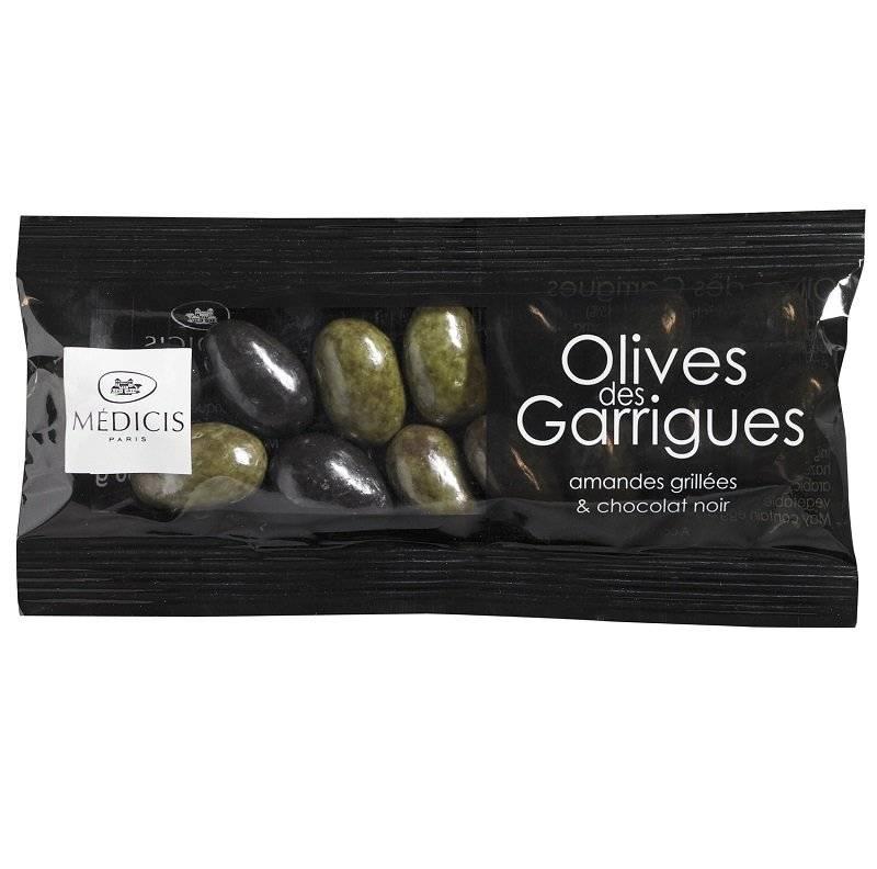 Migdale prajite in ciocolata neagra - Olives des Garrigues, 50g