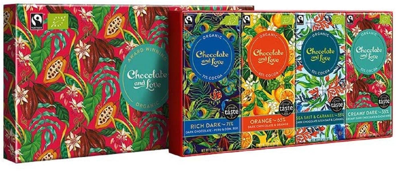 Set cadou 4 tablete ciocolata neagra Bio - Creamy Dark