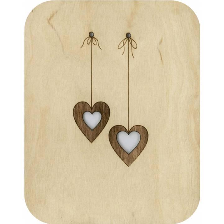 Felicitare din lemn - Wooden - Dangling Hearts thumbnail