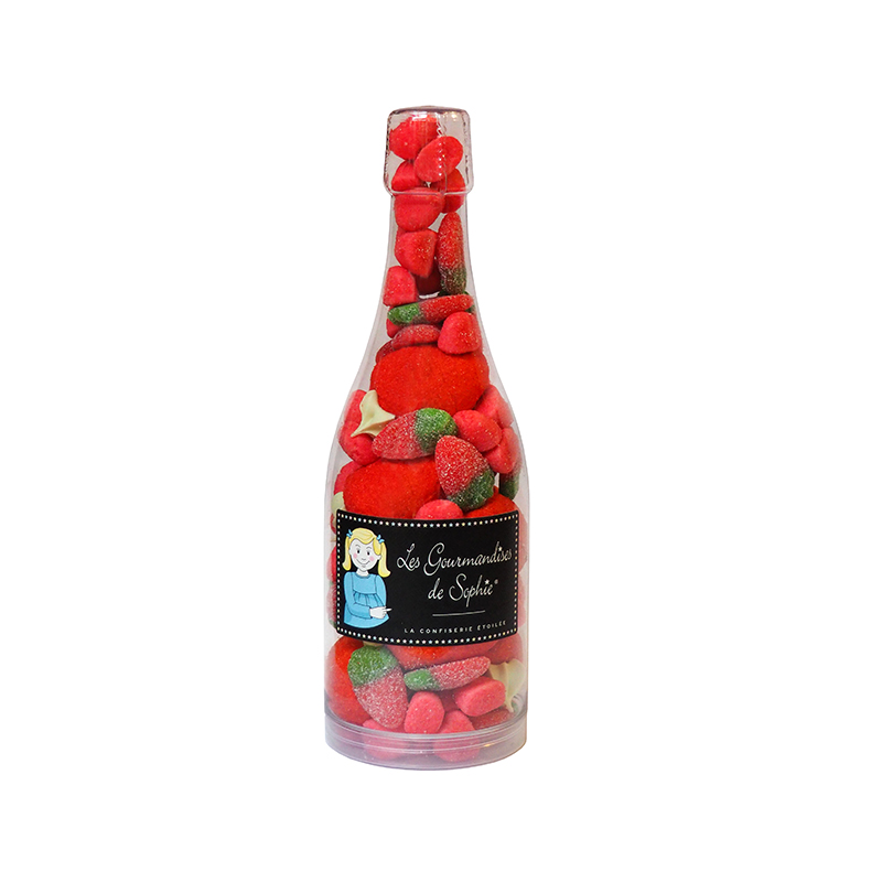 Sticla  cu bomboane trio capsuni - cocktail trio de fraises