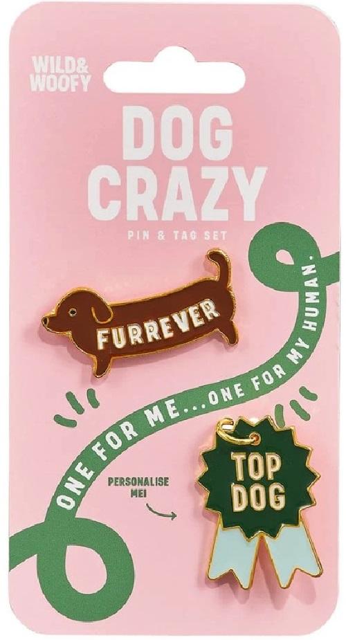 Set insigna si medalion pentru zgarda cainelui - Dog Crazy