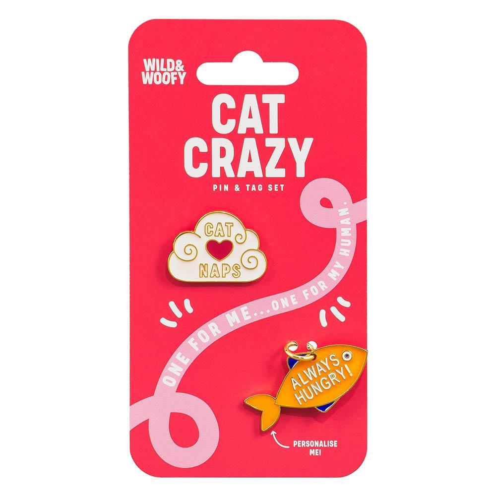Set insigna si medalion pentru zgarda pisicii - Cat Crazy