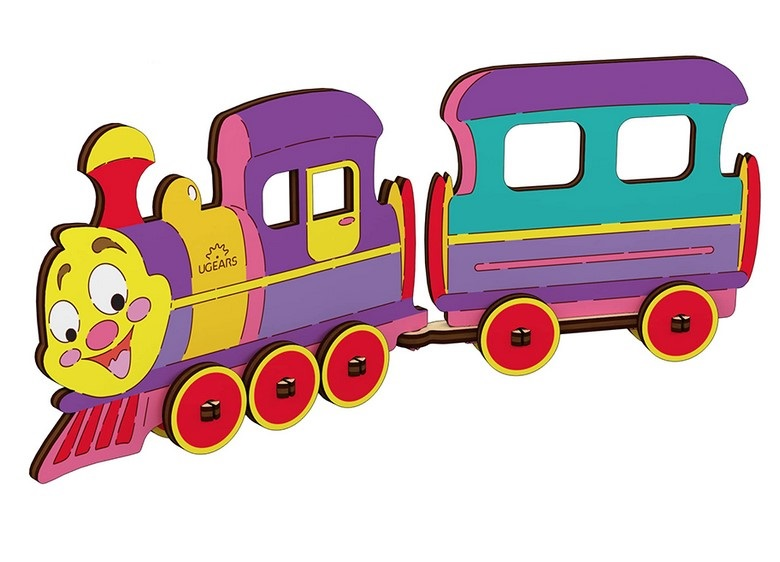 Puzzle 3D de colorat - Locomotiva | Ugears