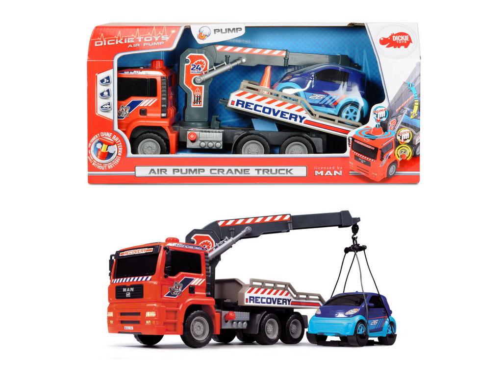 Jucarie - Camion de tractare cu macara / Air Pump Crane Truck 31cm | Dickie Toys