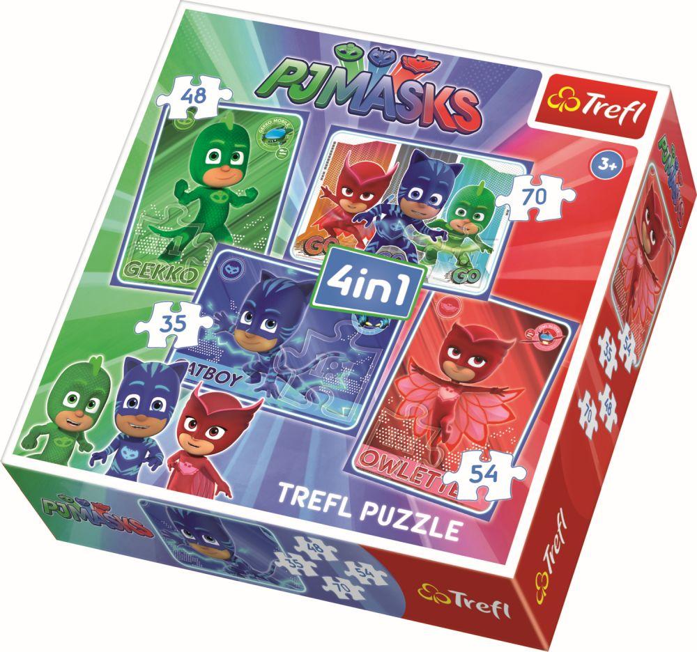 Puzzle 4 in 1, Eroi in pijama   Trefl