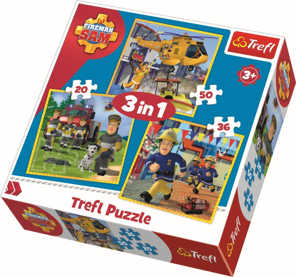 Puzzle 3 in 1, Pompierul Sam   Trefl