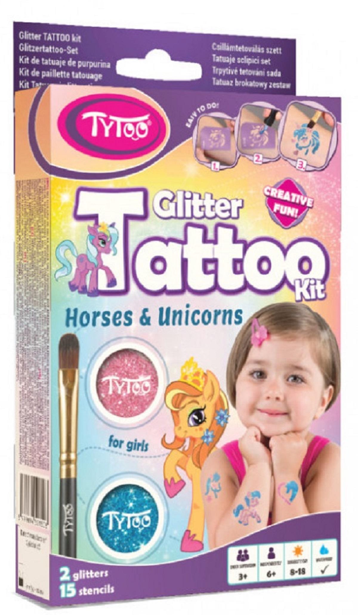 Set tatuaje cu sclipici Cai si Unicorni