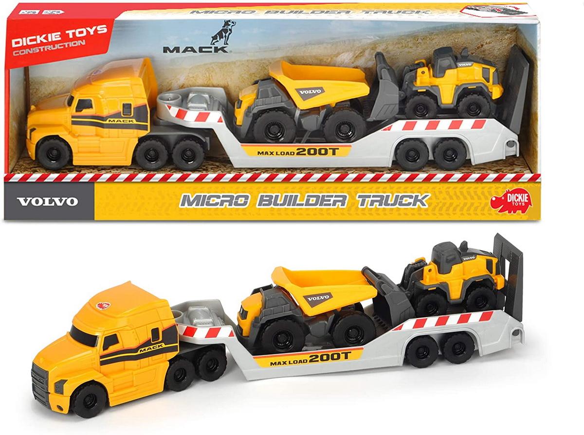 Set masinunte - Trailer Volvo Mack cu basculanta si buldozer / Micro Builder Truck | Dickie Toys