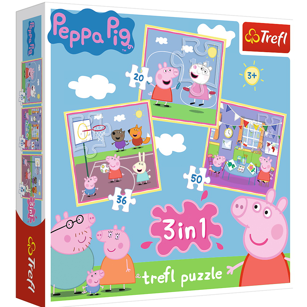 Puzzle 3 in 1 - Peppa Pig Playing at School | Trefl