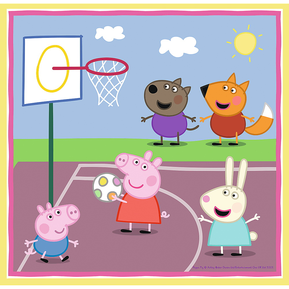 Puzzle 3 in 1 - Peppa Pig Playing at School | Trefl - 4