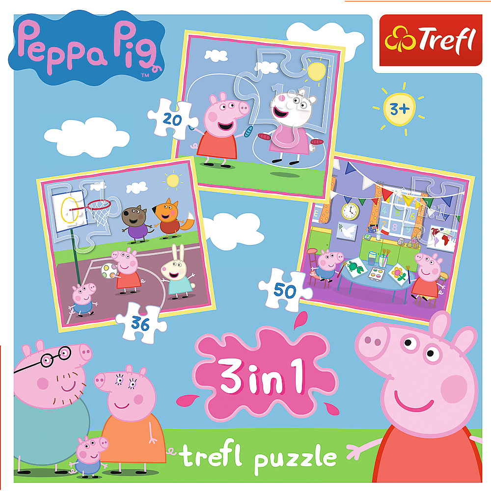 Puzzle 3 in 1 - Peppa Pig Playing at School | Trefl - 1