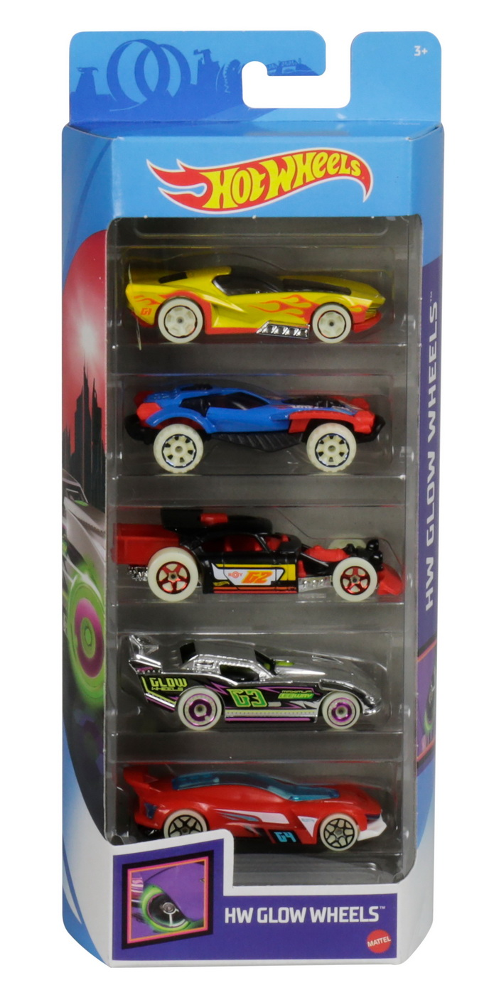 Set 5 Masini Hot Wheels cu Roti Fluorescente | HOT WHEELS - Vehicule
