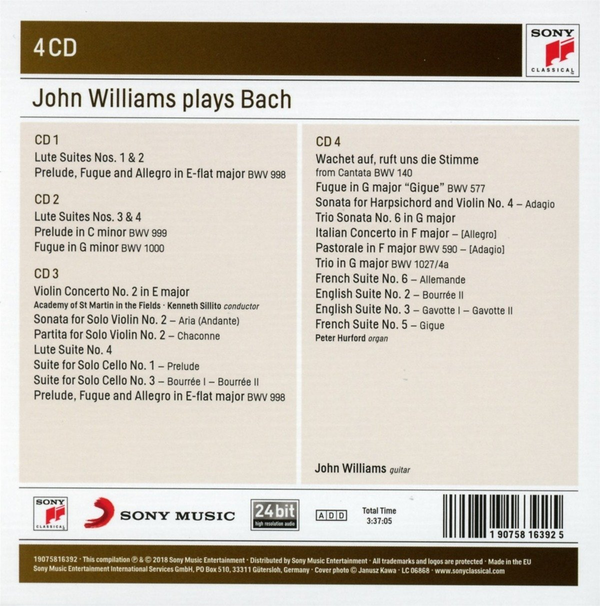 John Williams Plays Bach - CD
